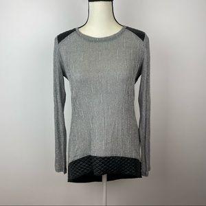 GENERATION LOVE Silver Metallic Leather Sweater